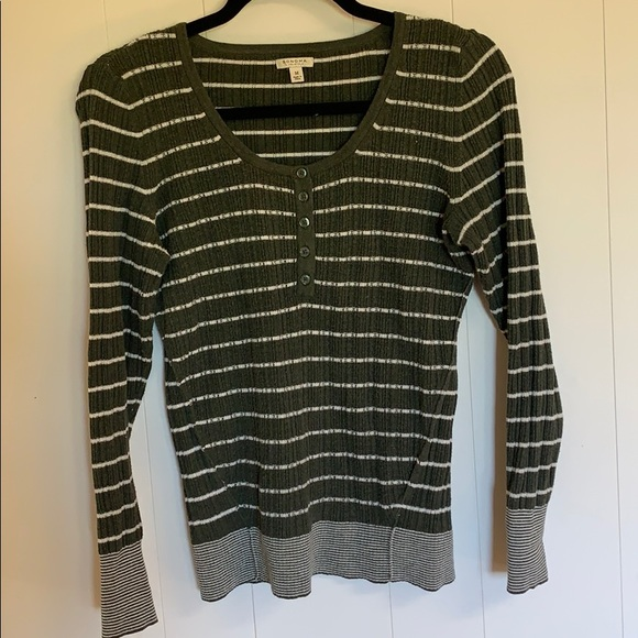 Women's Sonoma Striped Green Sweater